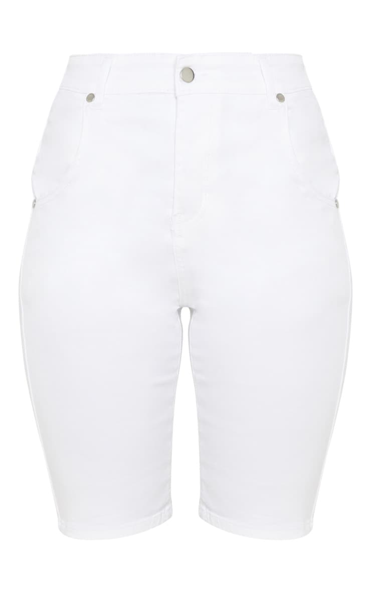 White Denim Bike Shorts  3