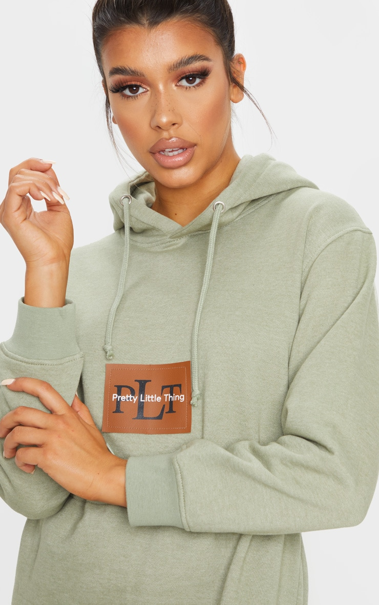 PRETTYLITTLETHING Sage Green Toggle Front Hoodie Sweater Dress 4