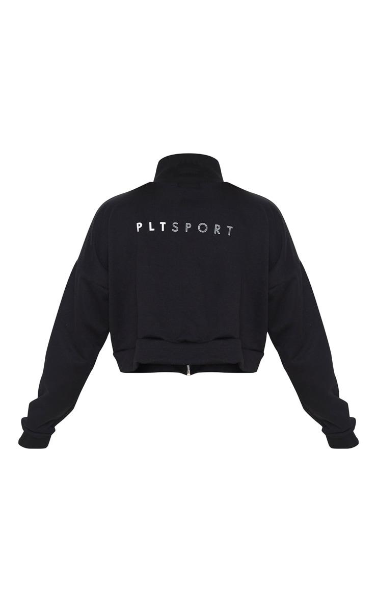 PRETTYLITTLETHING Black High Neck Zip Up Sweat Jacket 6
