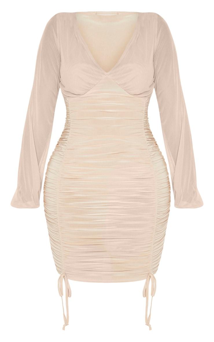 Shape Dark Nude Slinky Ruched Mesh Sleeve Bodycon Dress 3