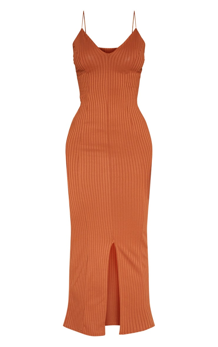 Rust Strappy Plunge Ribbed Midaxi Dress 3