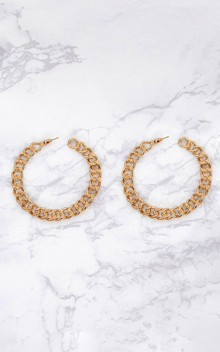 Gold Chain Hoop Earrings 3