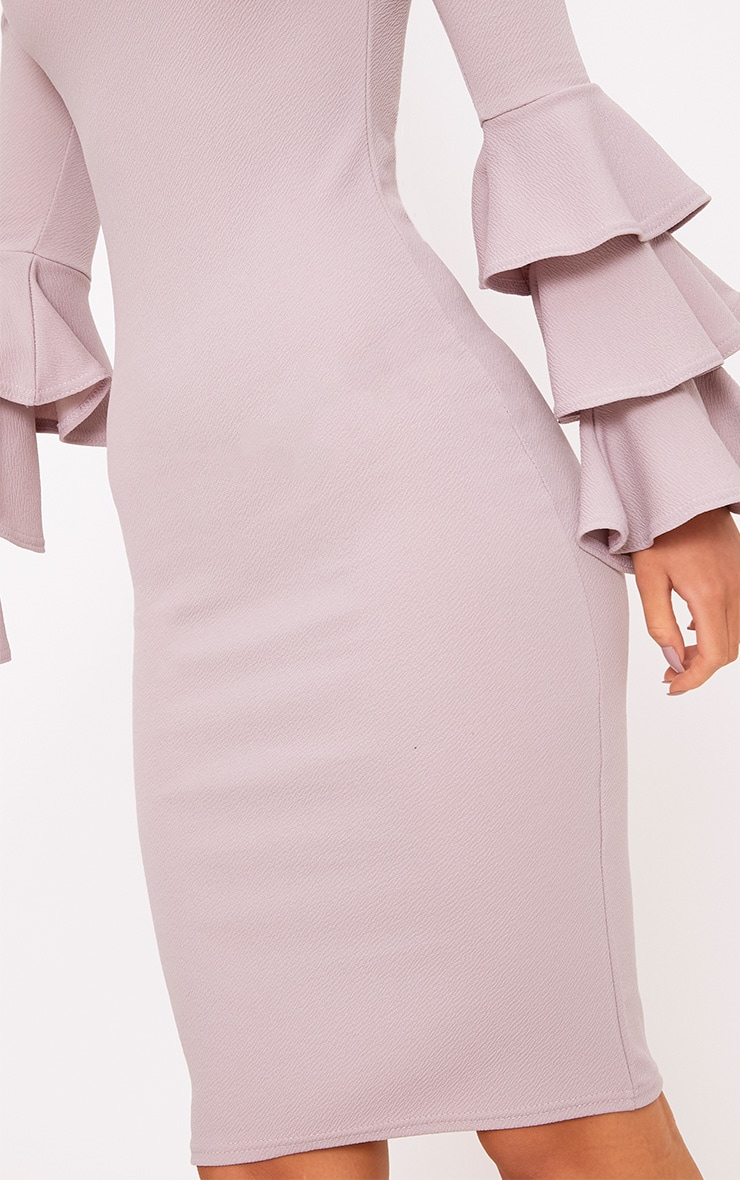 Lilac Grey  Bardot Ruffle Sleeve Midi Dress 5