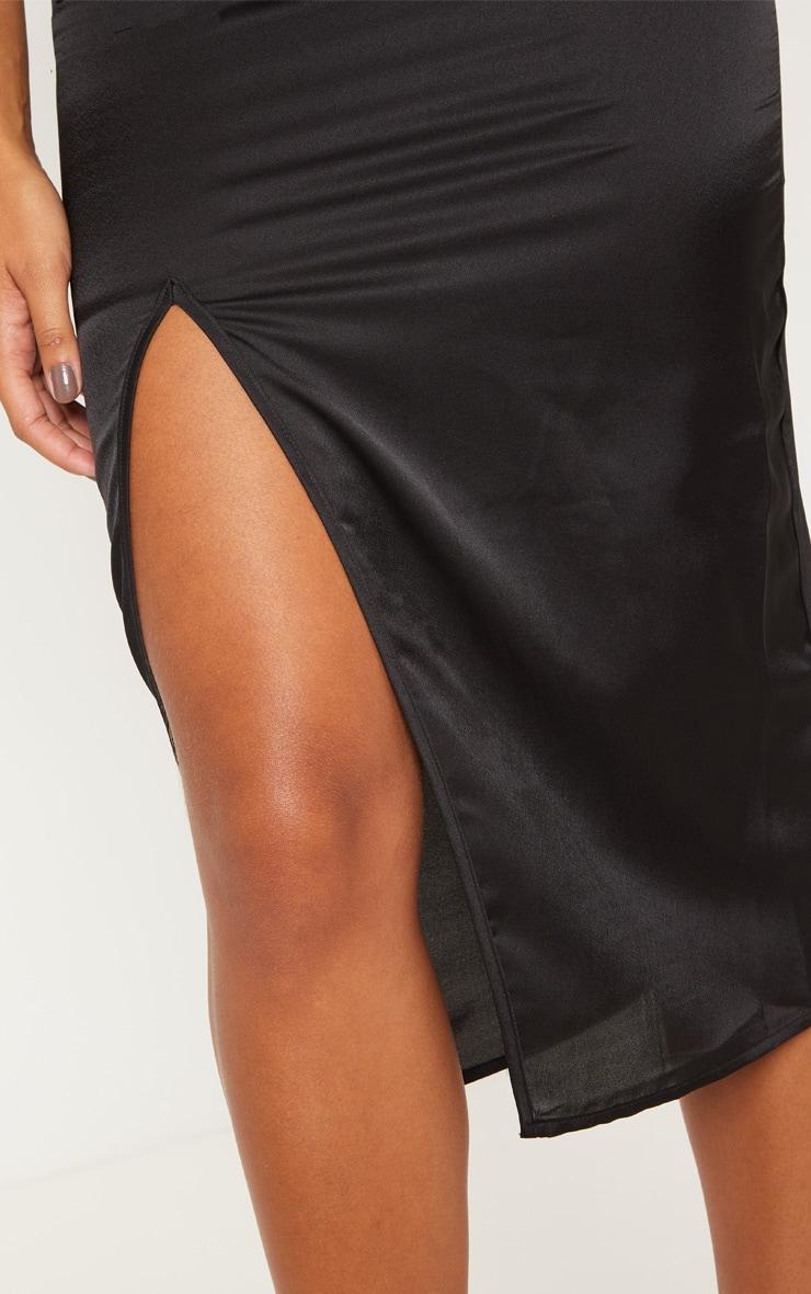 Black Strappy Satin Cowl Midi Dress 5