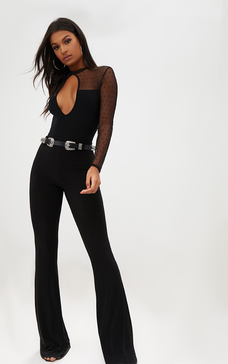 Black Key Hole Mesh Sleeve Thong Bodysuit  5