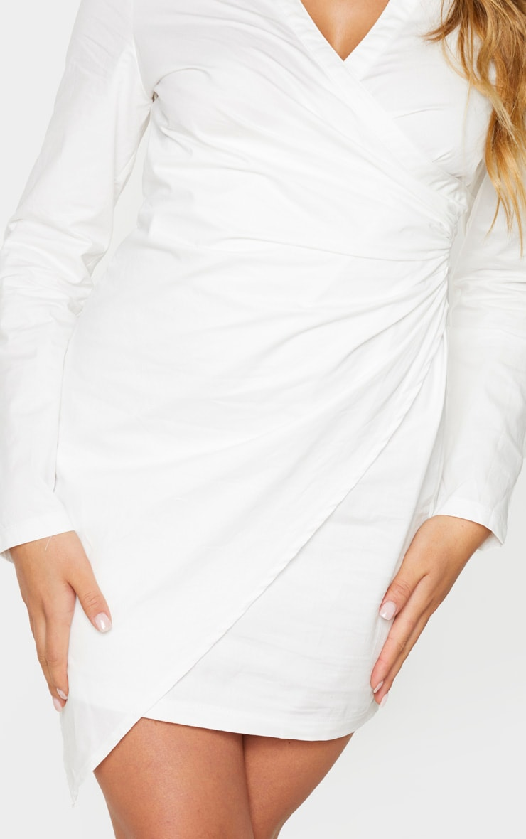 White Ruched Side Detail Long Sleeve Shirt Dress 4