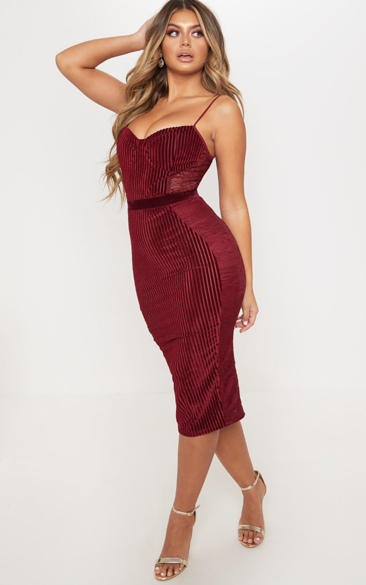 Burgundy Velvet Lace Panel Midi Dress 3