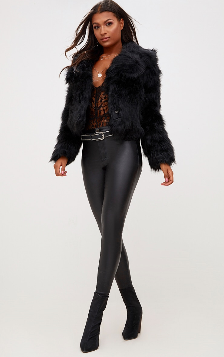 Black Faux Fur Jacket 4