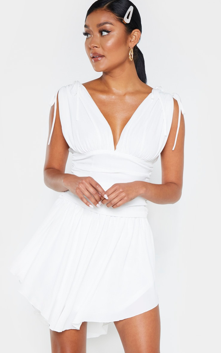 White Plunge Ruched Waist Asymmetric Hem Shift Dress 4