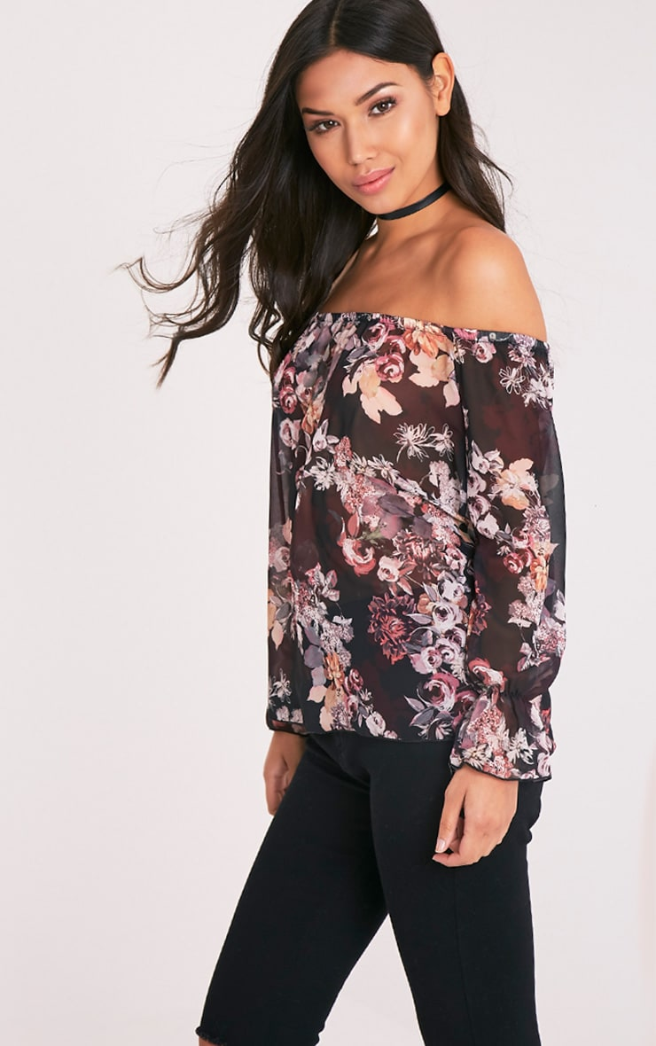 Graciel Black Floral Bardot Top 4