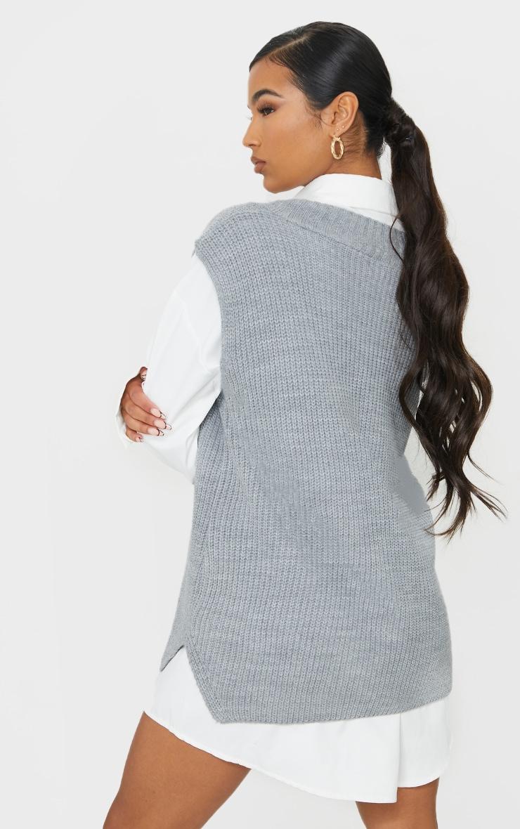 Grey V Neck Knitted Side Split Vest 2