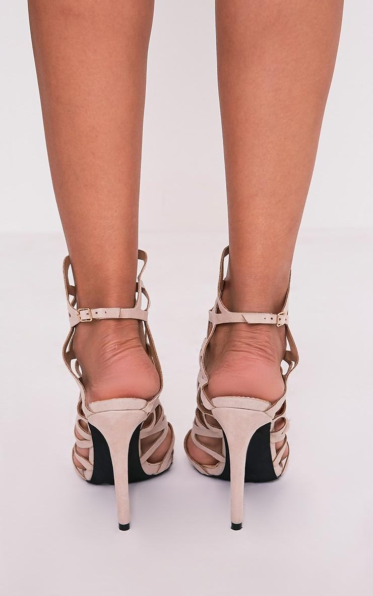 Haiti Nude Suede Strappy Caged Heels 4