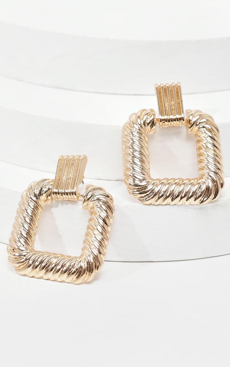 Gold Textured Square Medium Door Knocker Earrings 2
