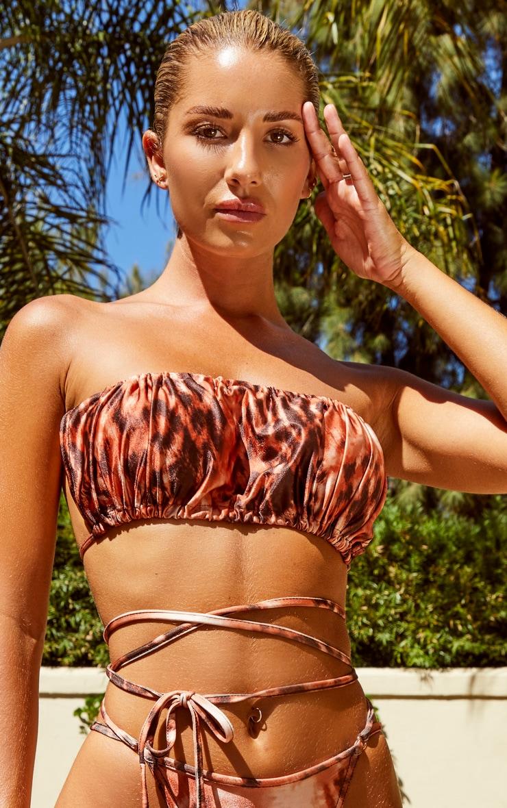 Rust Leopard Ruched Bandeau Bikini Top 4