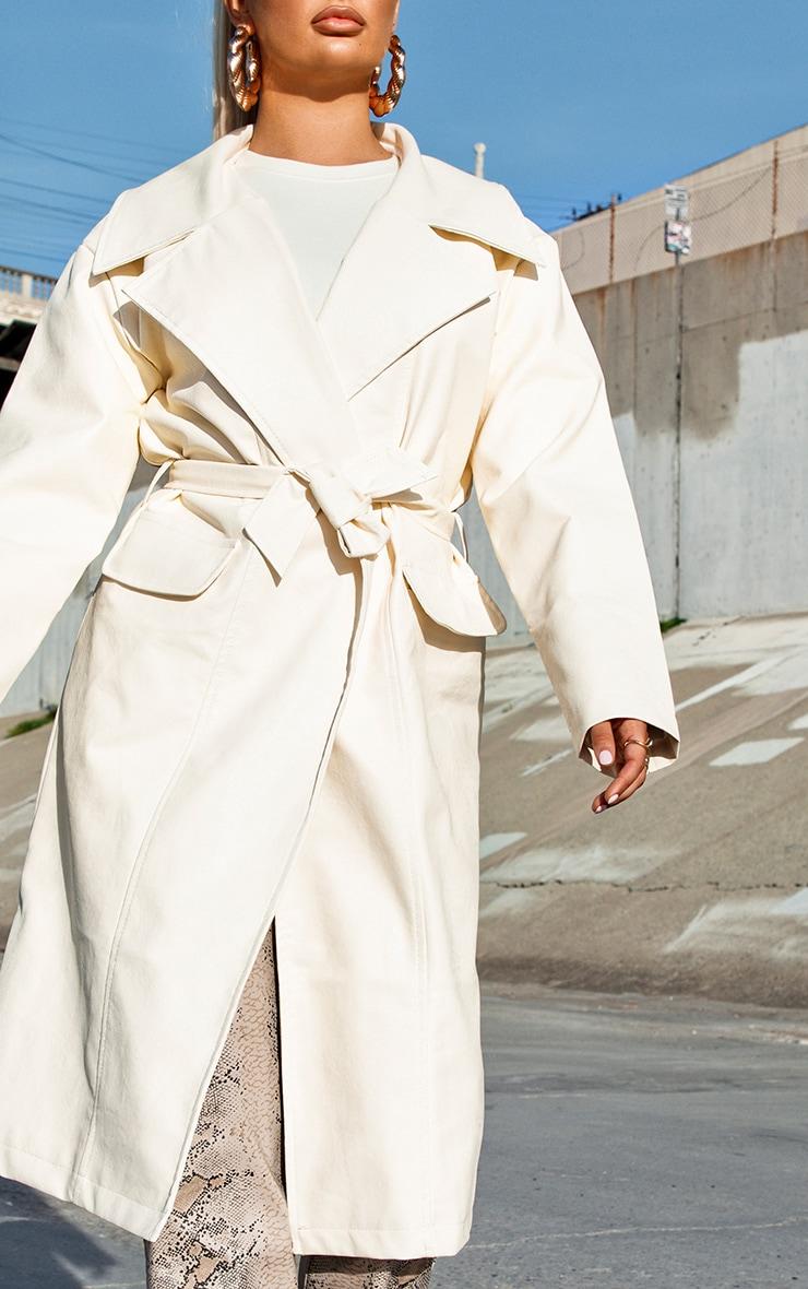 Cream Faux Leather Oversized Midi Trench Coat 4