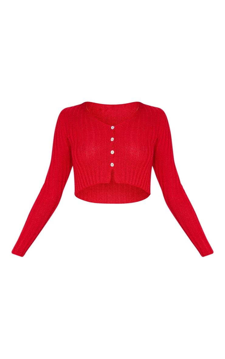 Red Skinny Fit Button Down Cardigan 3