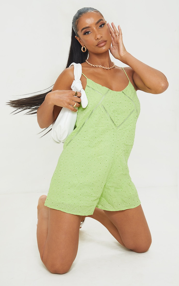 Lime Broderie Anglaise Strappy Smock Playsuit 3