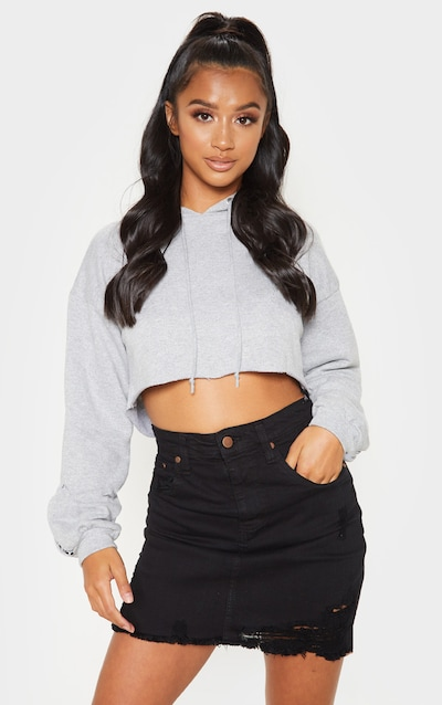 Petite Black Stretch Denim Skirt