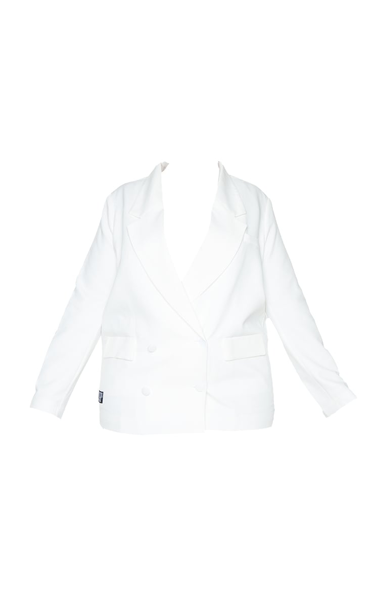 PRETTYLITTLETHING Plus White Double Breasted Blazer 5