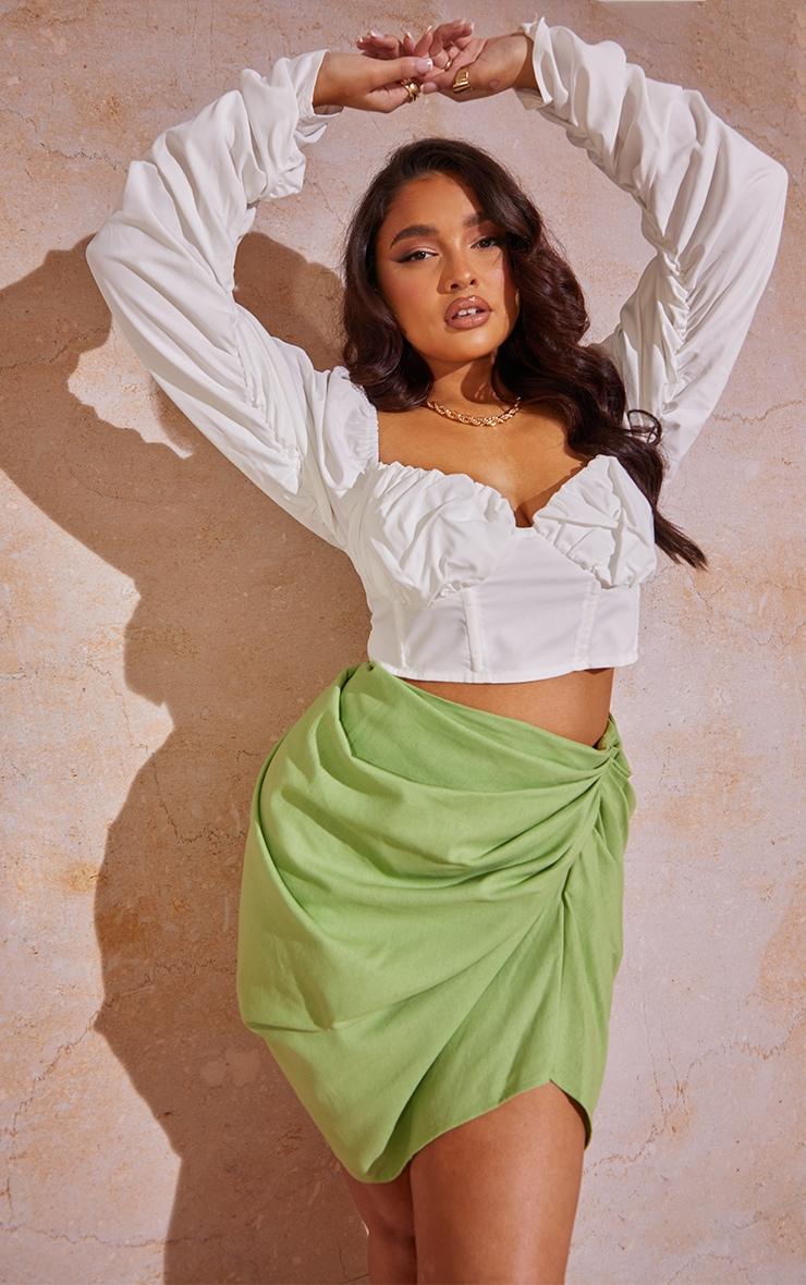 Plus Sage Green Gathered Mini Skirt  4