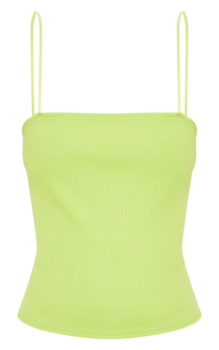 Lime Structured Rib Strappy Cami Top 3