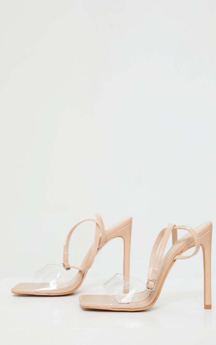 Nude Extreme Square Toe Clear Strap High Heels 3