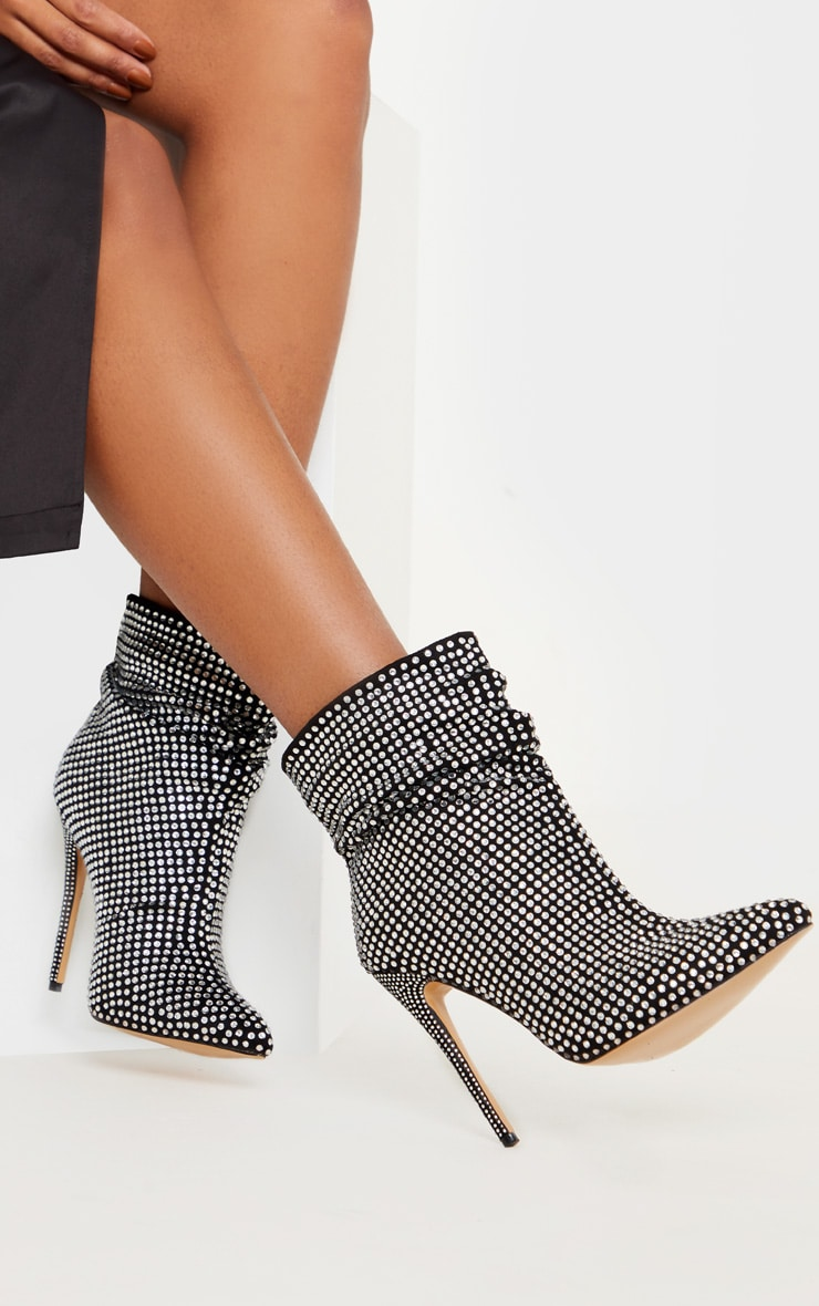 Black Diamante Slouch Ankle Boot 2