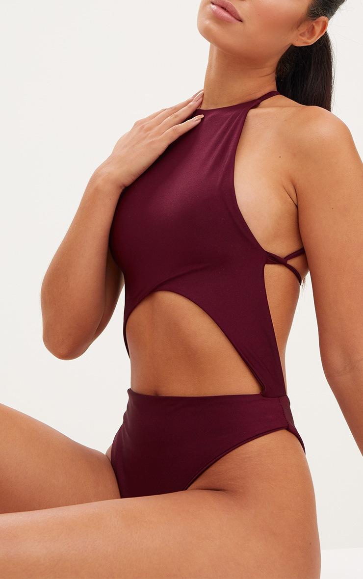 Burgundy High Rise Wrap Around Swimsuit 6