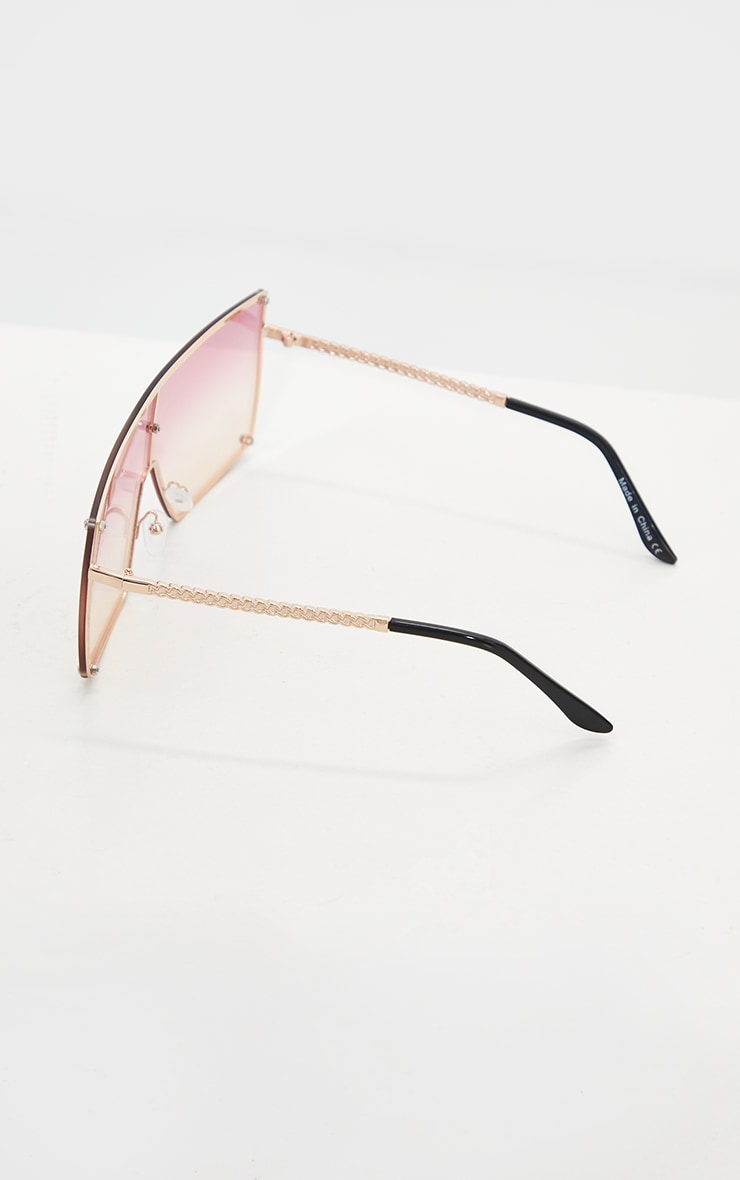 Pink Ombre Oversized Square Frame Sunglasses 3