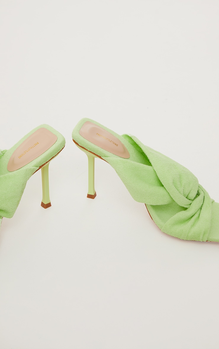 Lime Towelling Square Toe Knot Detail High Heeled Mules 3