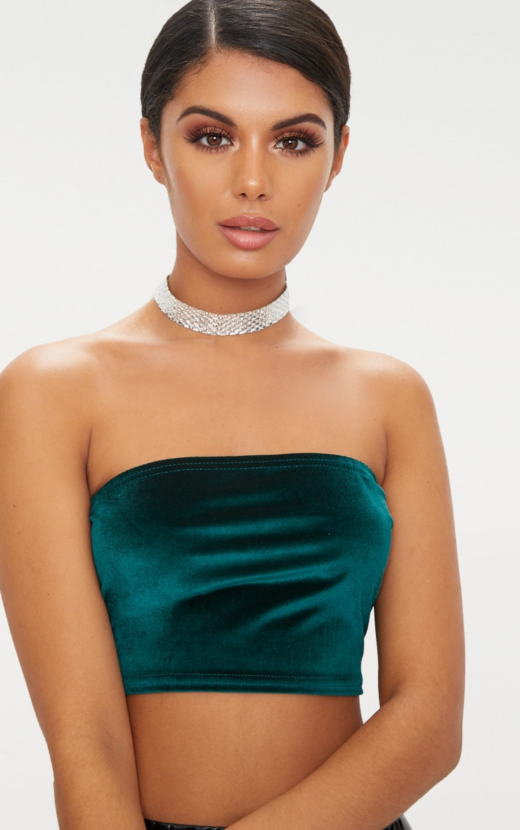 Emerald Green Velvet Bandeau Crop Top 5