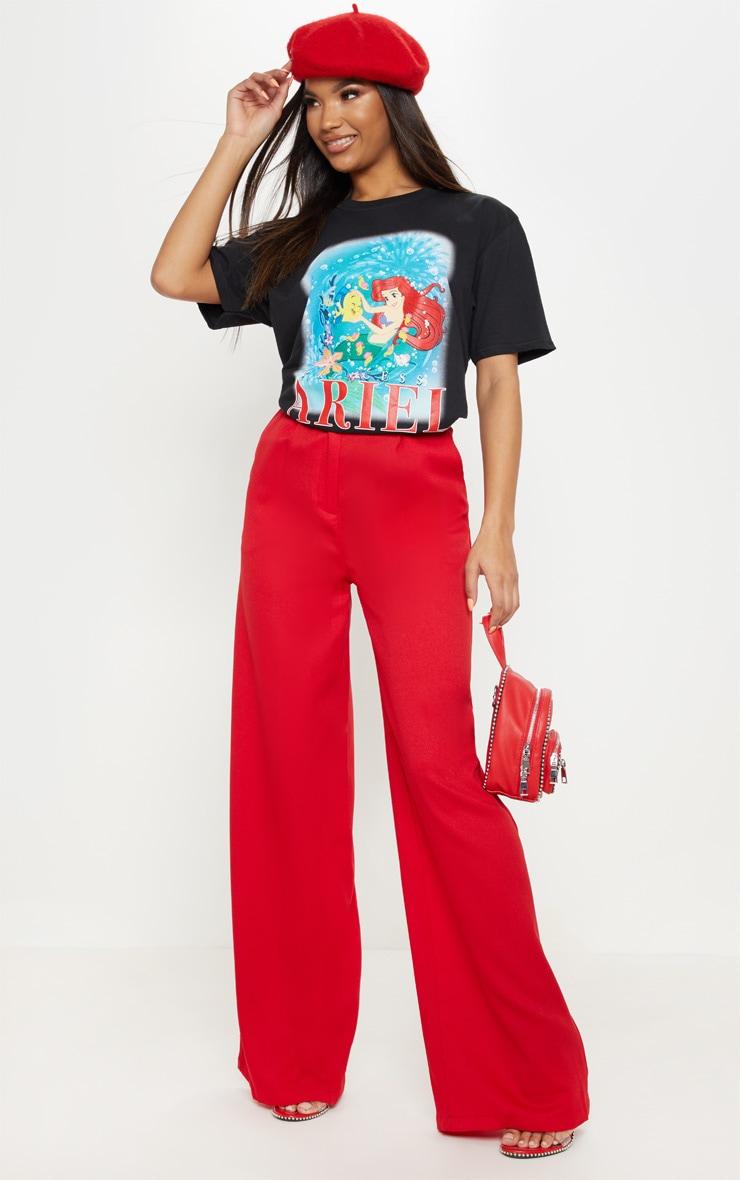Black Disney Princess Ariel Print Oversized T-Shirt 4