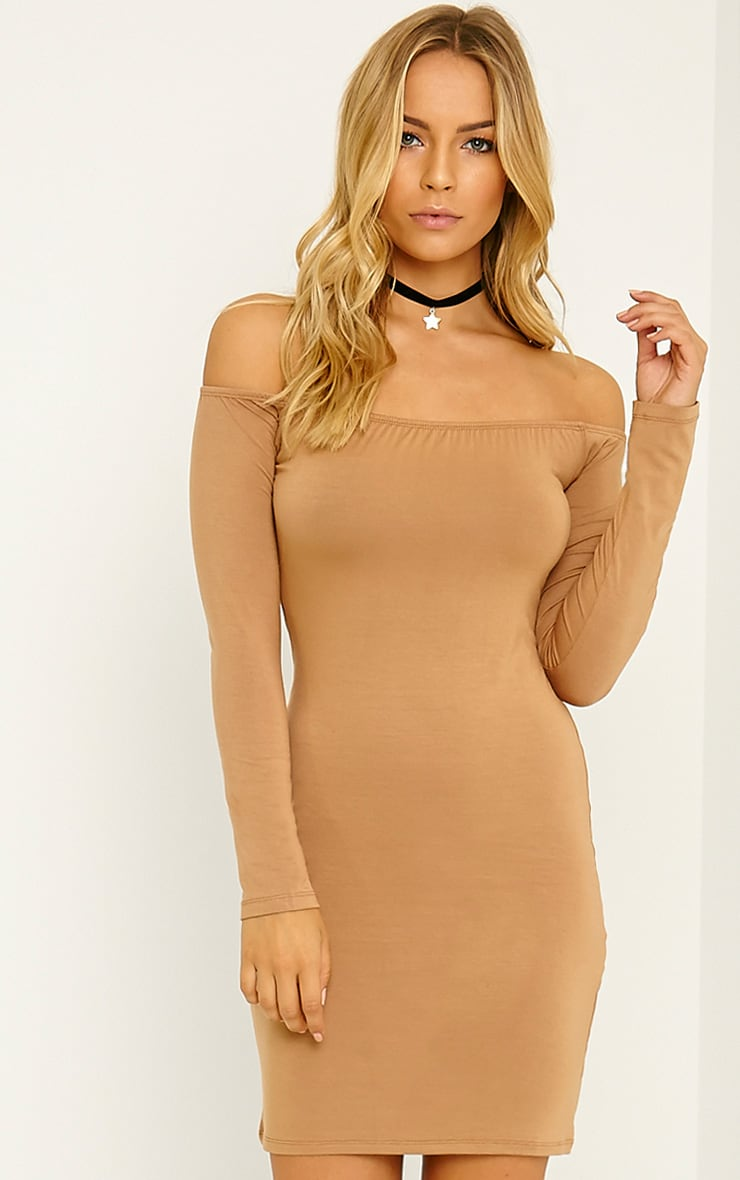 Carina Camel  Bardot Mini Dress 1