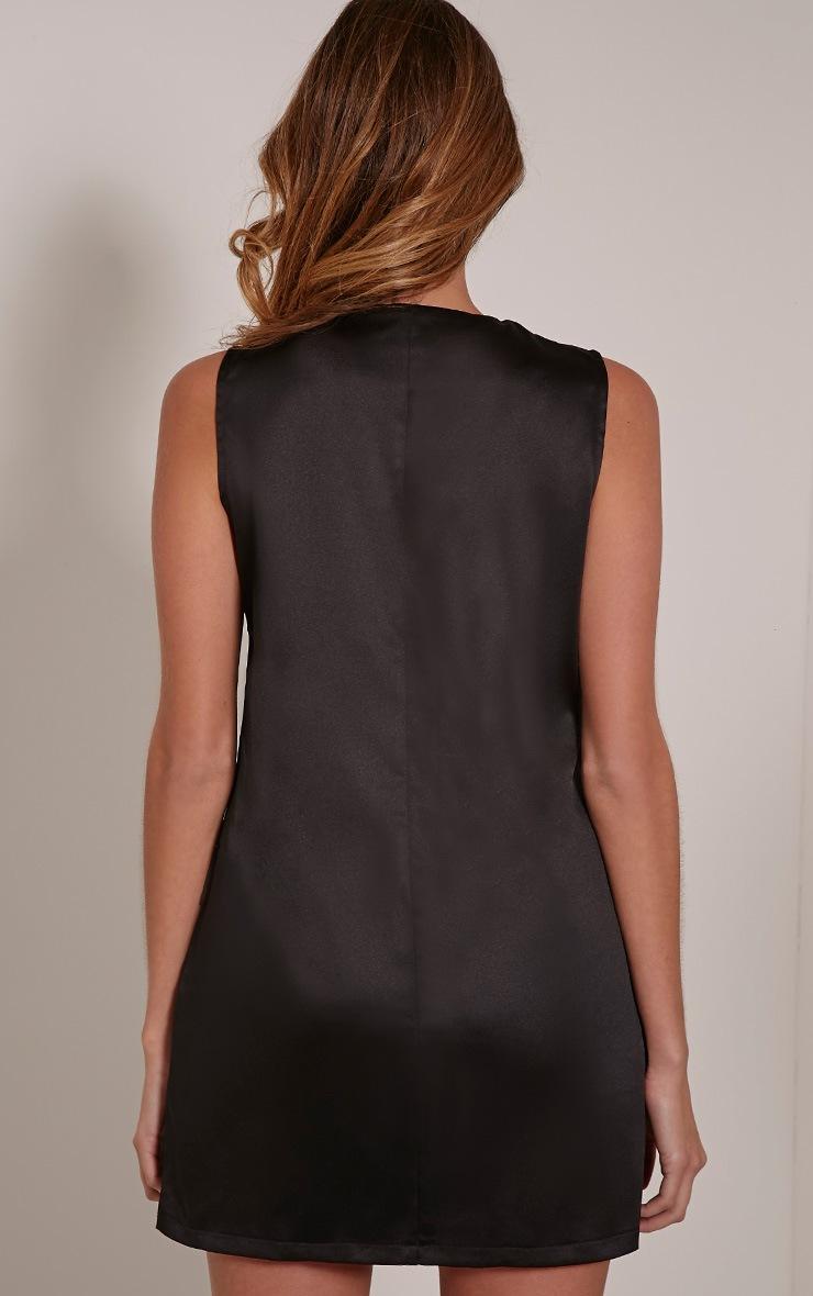 Elliya Black Lace Up Shift Dress 2