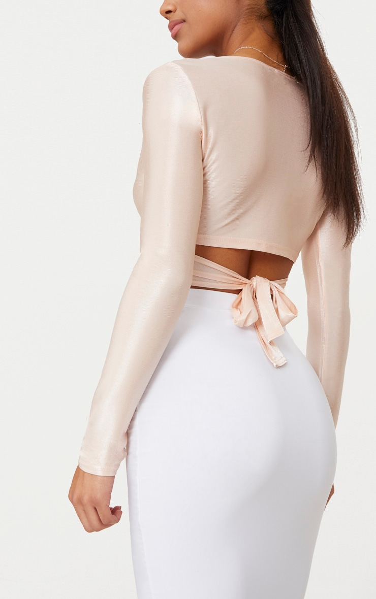 Blush Slinky Shimmer Tie Back Long Sleeve Crop Top 5