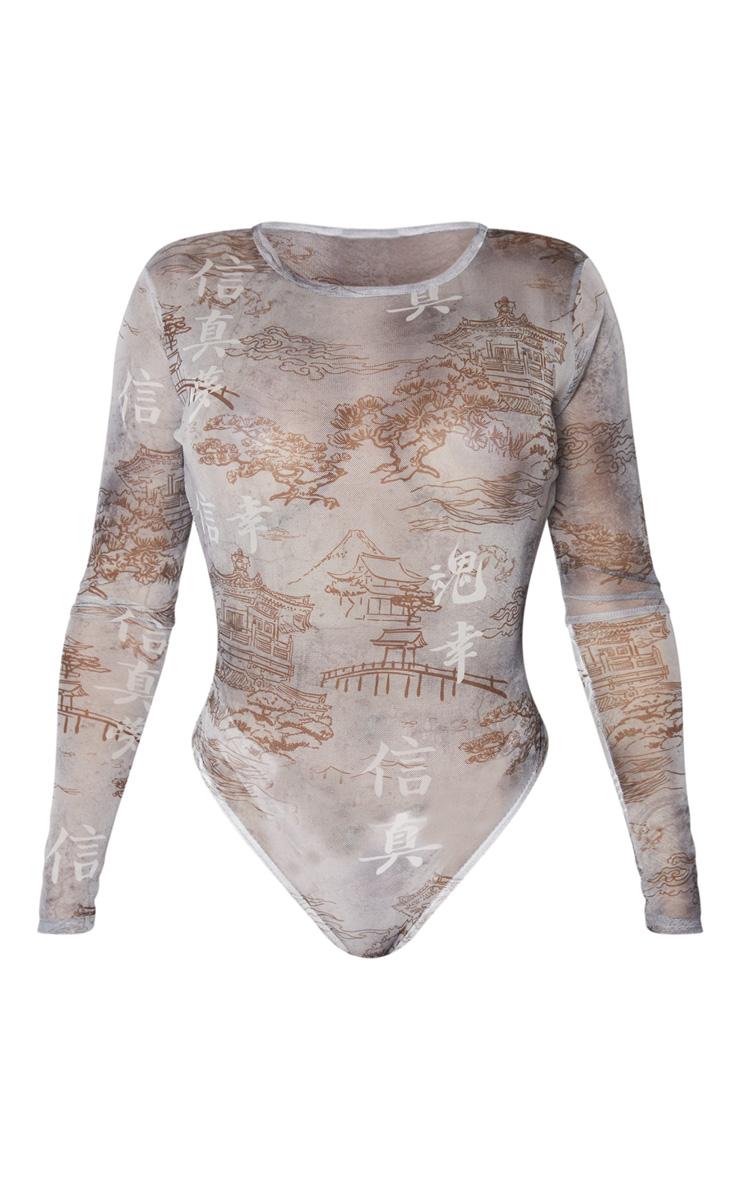 Shape Grey Oriental Printed Mesh Long Sleeved Bodysuit 3