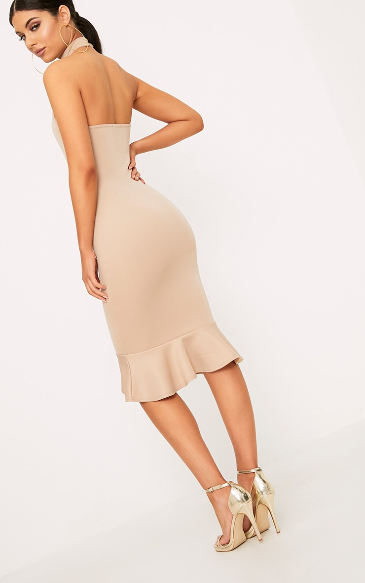 Nude High Neck Frill Hem Midi Dress 2