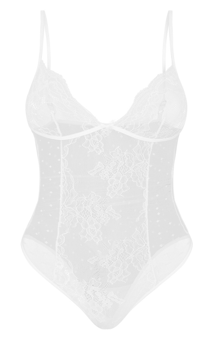 White Floral Lace & Dobby Mesh Cup Detail Body 3