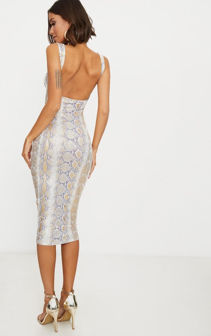 Gold Snake Print Scoop Neck Midaxi Dress