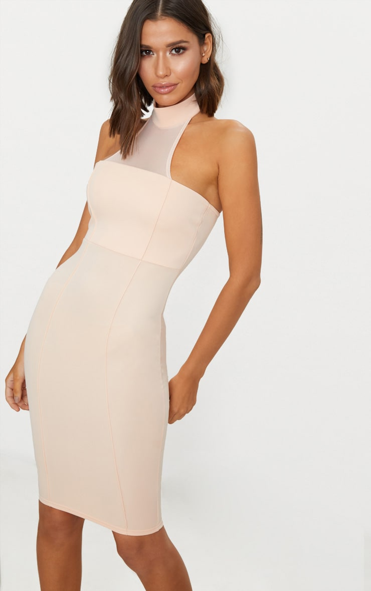 Nude High Neck Mesh Detail Midi Dress Pretty Little Thing Store Online dyNbpfzb