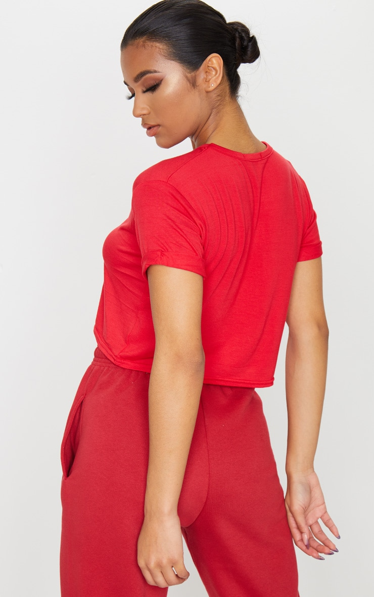 Basic Red Roll Sleeve Crop T Shirt 2