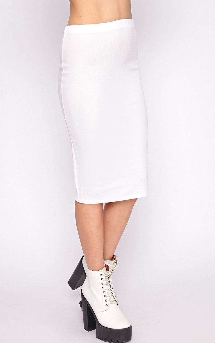 Alexa White Textured Midi Skirt -S/M 3