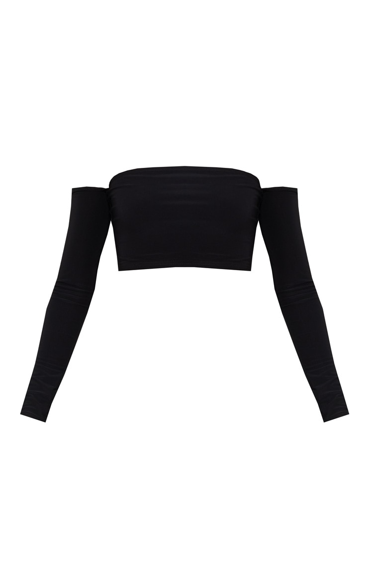Black Slinky Bardot Long Sleeve Crop Top  3