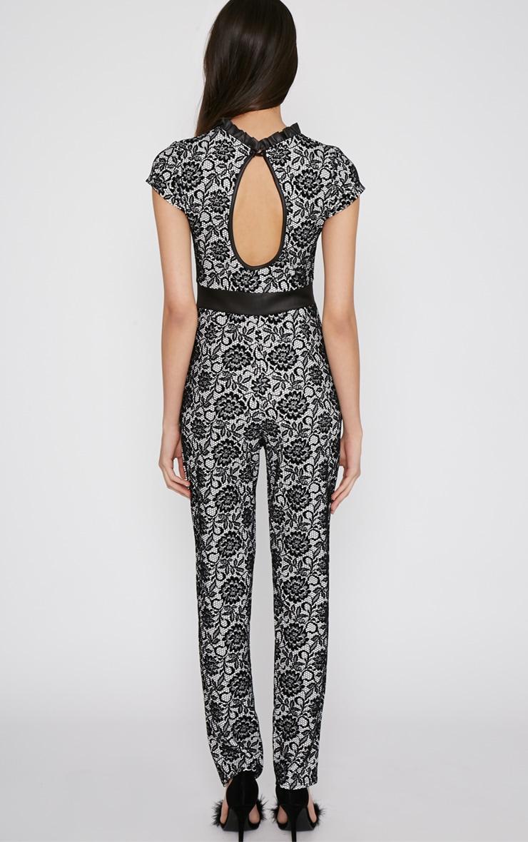 Viola Black Lace Print Jumpsuit 2