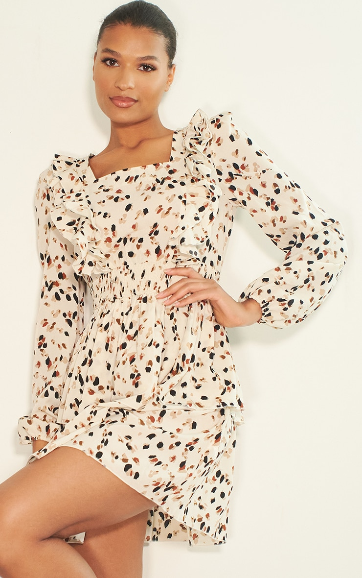 Cream Dalmatian Print Ruffle Detail Tiered Shift Dress 1
