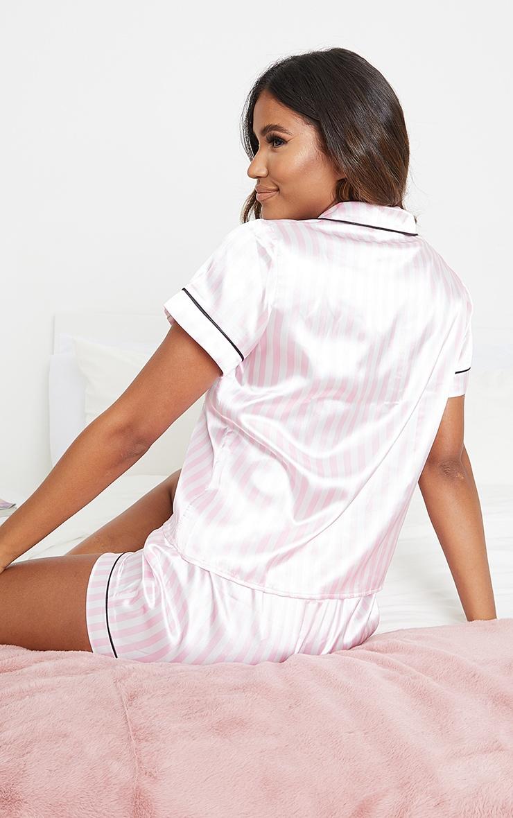 Pink And White Stripe Satin Short PJ Set 2