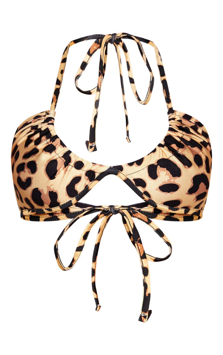 Leopard Adjustable Scoop Neck Bikini Top 3