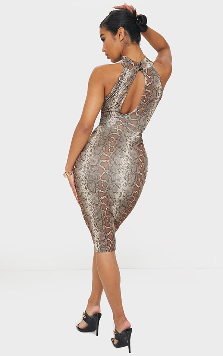 Brown Snake Print High Neck Cut Out Waist Midi Dress 2