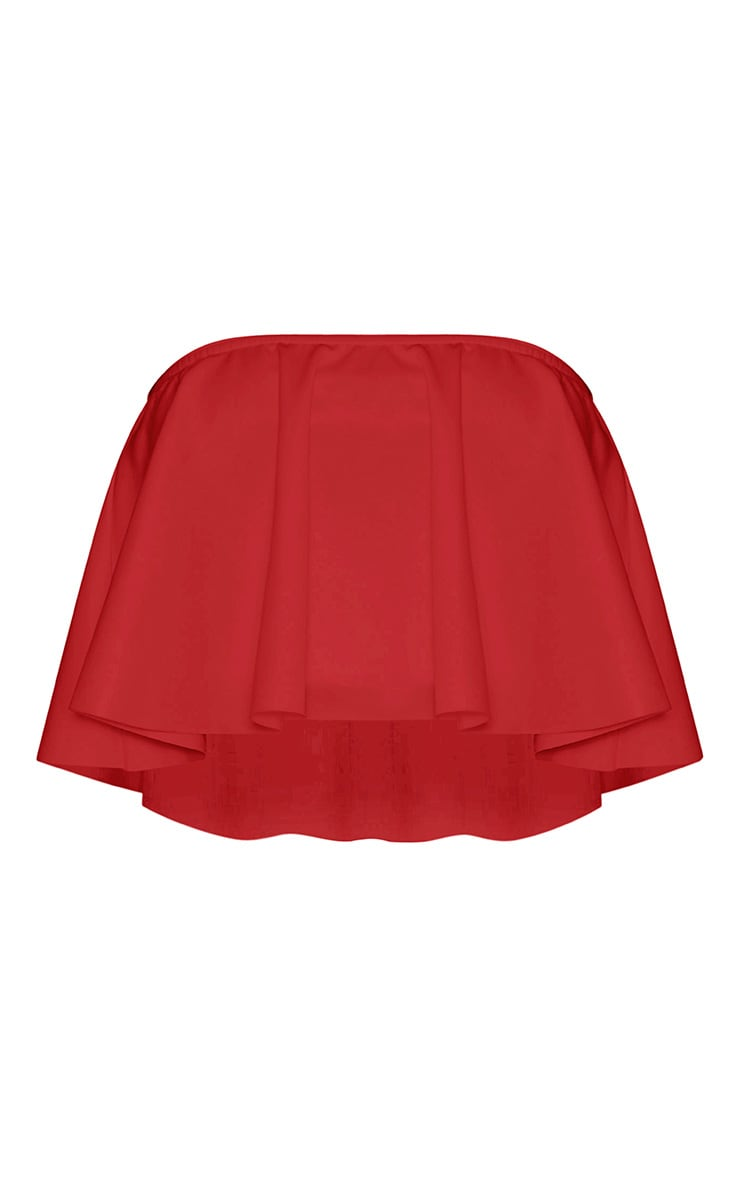 Fillipa Red Scuba Frill Bardot Crop Top 3