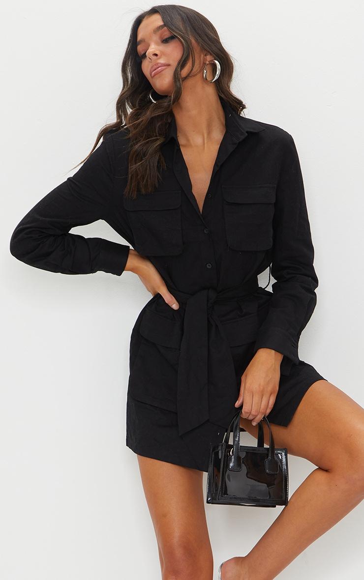 Robe chemise noire nouée à la taille style utilitaire 3